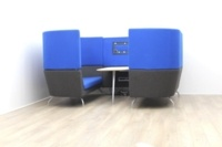 Dark Blue Orangebox meeting sofa with table and tv - Thumb 3