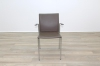 Brunner Brown Leather with Armrests Meeting Chair - Thumb 4