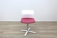 Dynamobel White Back Pink Fabric Seat Meeting Chair - Thumb 3