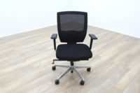 Black Fabric / Mesh & Polished Aluminium Office Task Chairs - Thumb 2