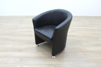 Black Leather Office Reception Tub Chair - Thumb 2