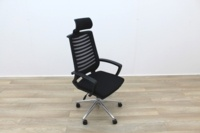 Black Operator Chair With Fabric Seat and Mesh Back - Thumb 6