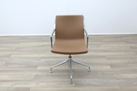 Kron Tan Brown Leather Executive Office Meeting Chairs - Thumb 4