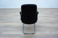 Black Leather Cantilever Office Meeting Chairs - Thumb 5