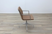 Kron Tan Brown Leather Executive Office Meeting Chairs - Thumb 6