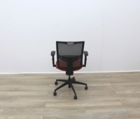 Mesh Back and Red Fabric Seat Operator Chair - Thumb 6