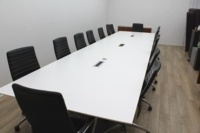 White Boardroom/Meeting Table With Cable Management - Thumb 2
