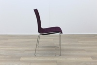 Brunner White Back Burgundy Fabric Seat Chrome Legs Meeting Chair - Thumb 6