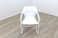 Brunner White Leather White Metal Frame Meeting Chair - Thumb 2