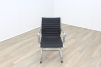 New Black Ribbed Leather Cantilever Office Meeting Chair - Thumb 3