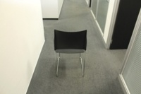 Black Sitag Plastic / Chrome Frame Stacking Office Meeting / Canteen Chairs - Thumb 4