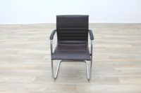 ICF Brown Ribbed Leather Cantilever Office Meeting Chair - Thumb 4