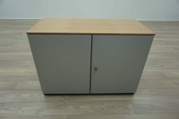 Bene AL Walnut / Silver Double Door Executive Office Storage Cupboards - Thumb 3