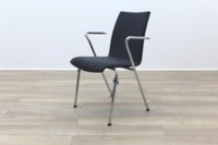 Brunner Grey Velour Meeting Chair with Armrests - Thumb 3