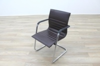 ICF Brown Ribbed Leather Cantilever Office Meeting Chair - Thumb 2