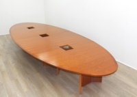 Cherry Veneer Oval Shape Meeting Table - Thumb 3