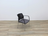 Boss Stacking Meeting Chairs Black Back And Grey Seat - Thumb 6