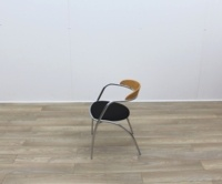 Black Fabric Meeting Chairs With Chrome Legs And Wood Back - Thumb 4