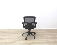 Black Mesh Back Black Fabric Seat Operator Chair - Thumb 6