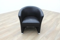 Black Leather Office Reception Tub Chair - Thumb 3