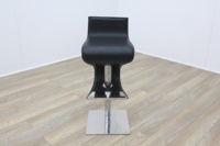 Black Leather Crome Base Bar Stool - Thumb 2