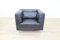 Black Leather Reception Armchair - Thumb 3