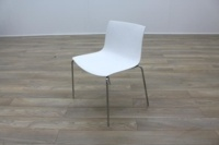 Arper Catifa 46 White / Blue Back Chrome Office Canteen Meeting Chairs - Thumb 3