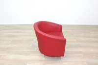 Red Leather Office Reception Tub Chairs - Thumb 6