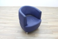 Blue Leather Office Reception Tub Chairs - Thumb 5