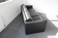Black 3 Seater Faux Leather Sofa - Thumb 4