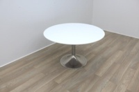 White Round Table With Chrome Base - Thumb 3
