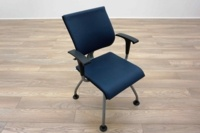 Ahrend Blue Leather Office Meeting Chairs - Thumb 2