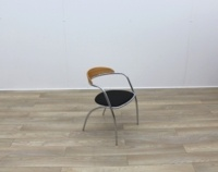 Black Fabric Meeting Chairs With Chrome Legs And Wood Back - Thumb 6