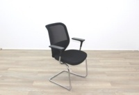 Orangebox Joy Black Fabric Seat / Black Mesh Back Cantilever Office Meeting Chairs - Thumb 5