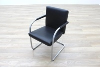 Vitra Visasoft Black Leather Cantilever Office Meeting Chairs - Thumb 3