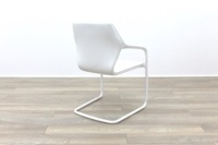 Brunner White Leather White Metal Frame Meeting Chair - Thumb 7