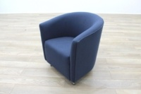 Dark Blue Fabric Office Reception Tub Chairs - Thumb 2