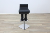 Black Leather Crome Base Bar Stool - Thumb 4