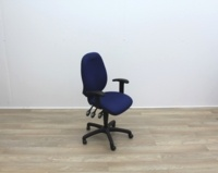 Blue Fabric Multifunction Office Task Chair - Thumb 3