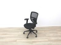 Black Mesh Back Black Fabric Seat Operator Chair - Thumb 4