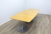 Golden Maple Veneer Barrel Shape Meeting Table - Thumb 5
