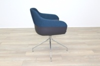Brunner Blue Fabric Back Grey Leather Seat Reception Tub Chair - Thumb 6