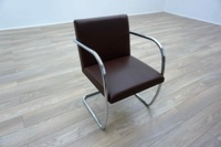 Knoll Studio Brno by Mies Van Der Rohe Brown Leather Executive Office Meeting Chairs - Thumb 2