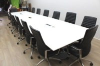 White Boardroom/Meeting Table With Cable Management - Thumb 3