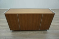 Bene AL Walnut / Aluminium Executive Office Storage / Credenza Cupboard - Thumb 3