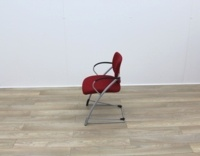 Red Fabric Meeting Chairs With Grey Frame - Thumb 4