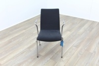 Brunner Grey Velour Meeting Chair with Armrests - Thumb 2