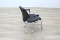 Giroflex 16 Series Black Leather Cantilever Office Meeting Chairs - Thumb 7