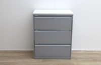 Side grey metal filing cabinets finish with wood top  - Thumb 2