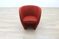 Red Fabric Office Reception Tub Chairs - Thumb 4